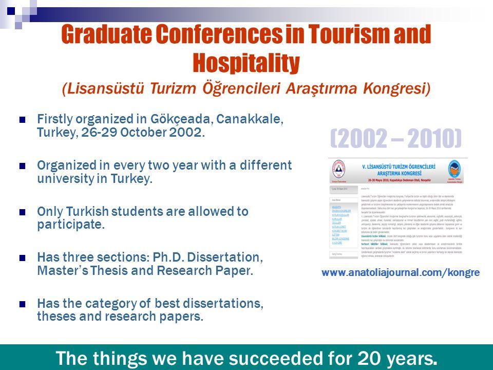 Graduate Conferences in Tourism and Hospitality (Lisansüstü Turizm Öğrencileri Araştırma Kongresi) Firstly organized in Gökçeada, Canakkale, Turkey, 2