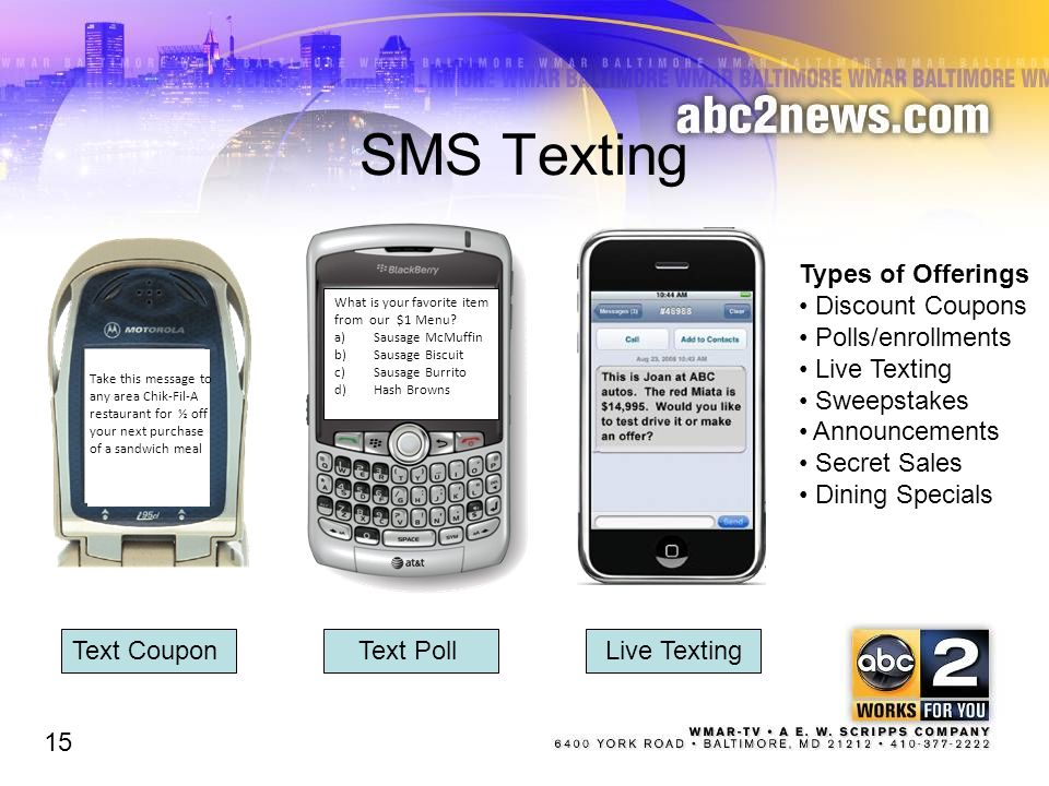 SMS Texting Text Poll 15 What is your favorite item from our $1 Menu.