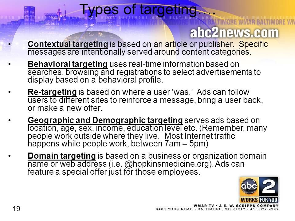 Types of targeting…. Contextual targeting is based on an article or publisher. Specific messages are intentionally served around content categories. B