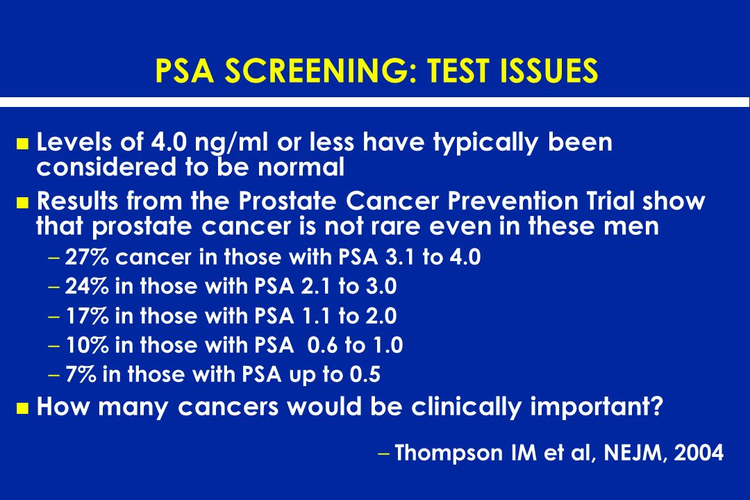 PSA SCREENING: TEST ISSUES Levels of 4.0 ng/ml or less have typically been considered to be normal Results from the Prostate Cancer Prevention Trial s