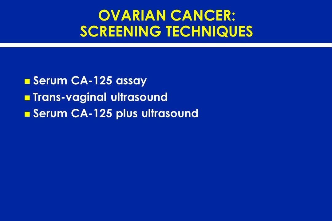 OVARIAN CANCER: SCREENING TECHNIQUES Serum CA-125 assay Trans-vaginal ultrasound Serum CA-125 plus ultrasound