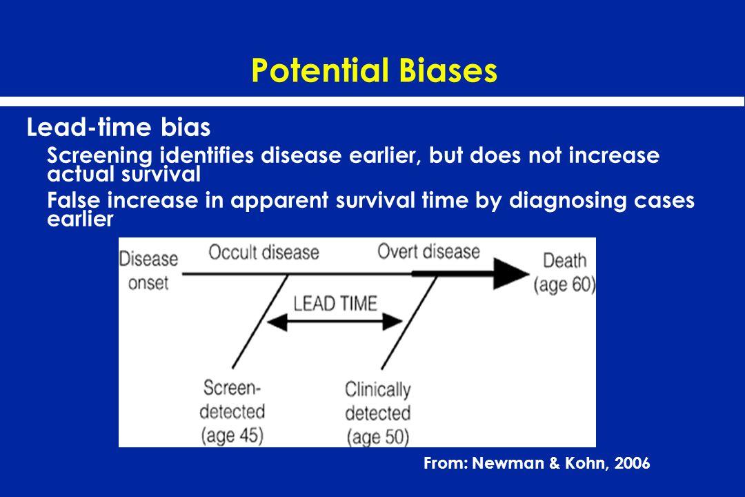 Potential Biases Lead-time bias Screening identifies disease earlier, but does not increase actual survival False increase in apparent survival time b