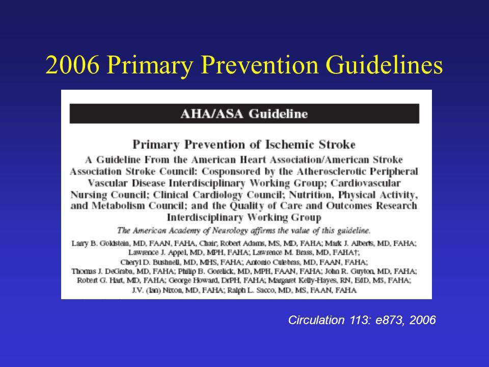 2006 Primary Prevention Guidelines Circulation 113: e873, 2006