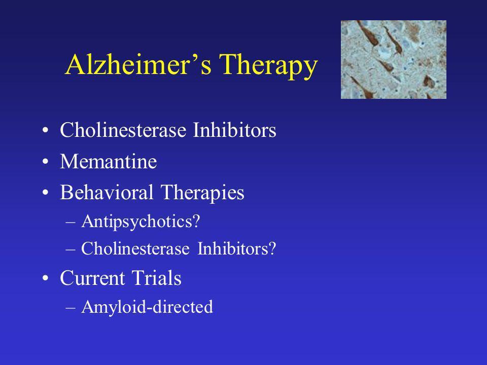 Alzheimers Therapy Cholinesterase Inhibitors Memantine Behavioral Therapies –Antipsychotics? –Cholinesterase Inhibitors? Current Trials –Amyloid-direc