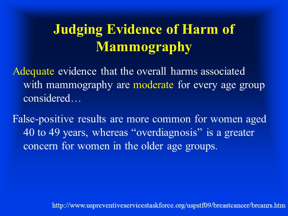 Judging Evidence of Harm of Mammography Adequate evidence that the overall harms associated with mammography are moderate for every age group consider
