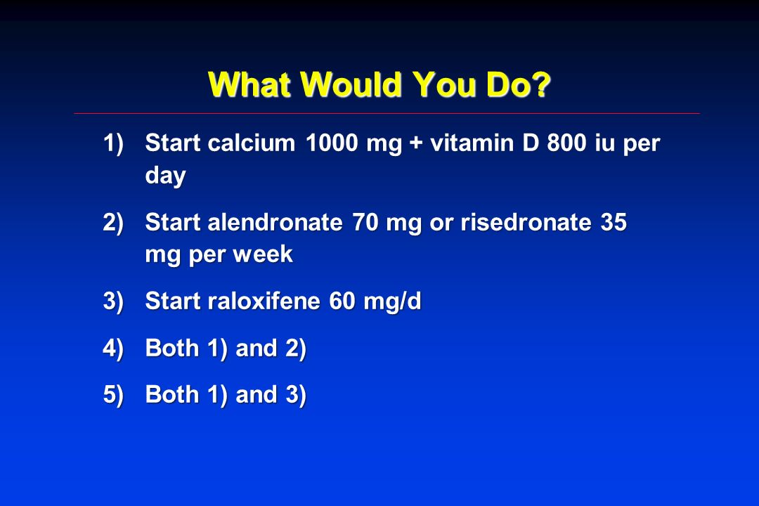 What Would You Do? 1)Start calcium 1000 mg + vitamin D 800 iu per day 2)Start alendronate 70 mg or risedronate 35 mg per week 3)Start raloxifene 60 mg
