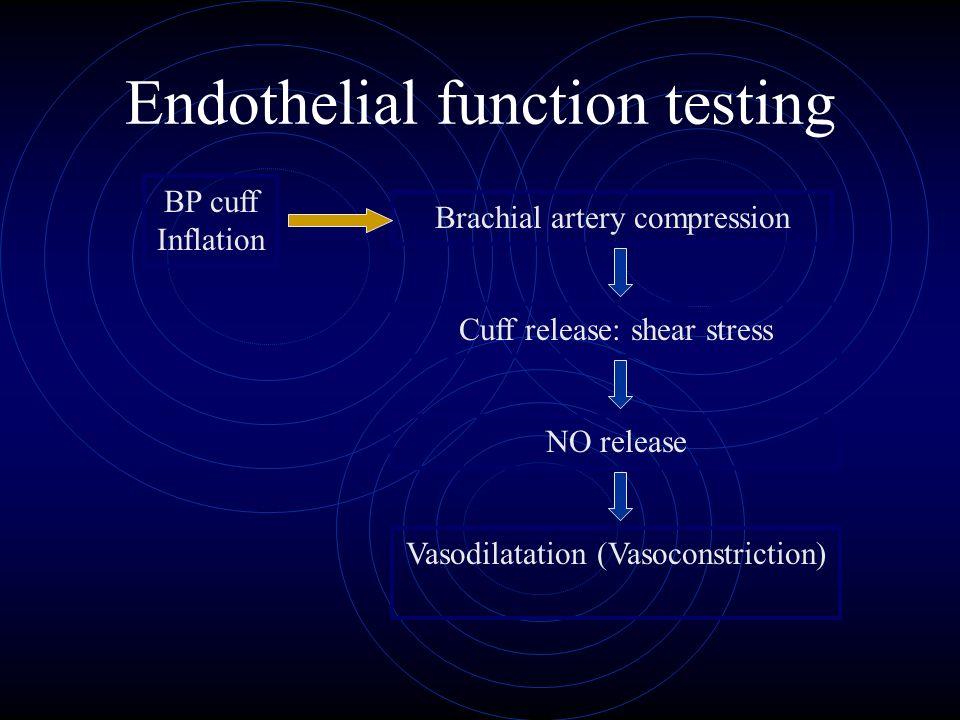 Endothelial function testing Brachial artery compression Cuff release: shear stress NO release Vasodilatation (Vasoconstriction) BP cuff Inflation