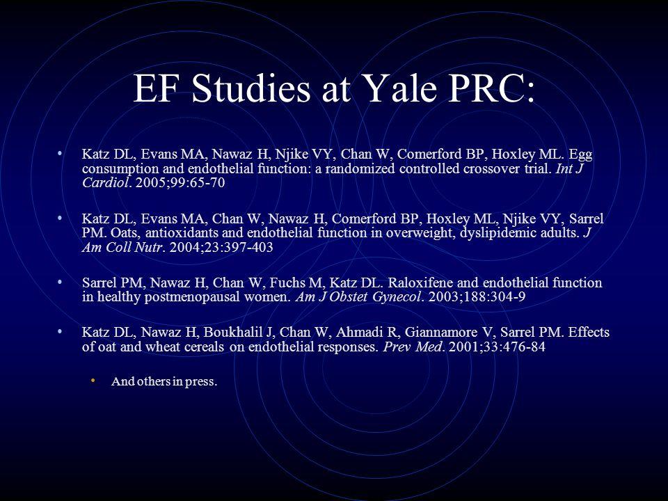 EF Studies at Yale PRC: Katz DL, Evans MA, Nawaz H, Njike VY, Chan W, Comerford BP, Hoxley ML.