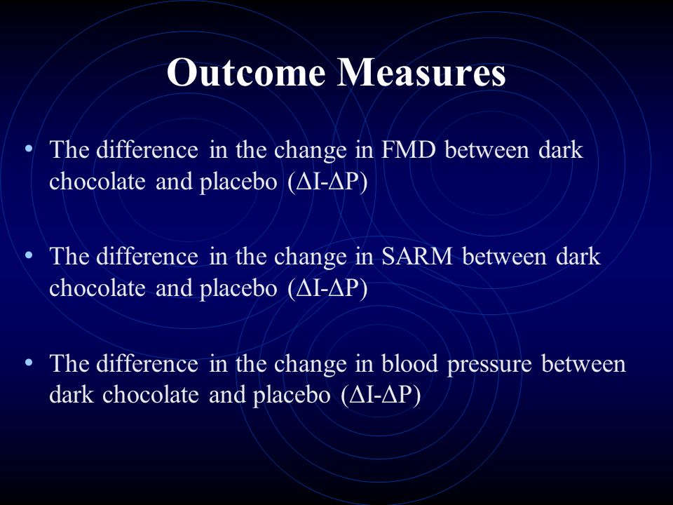 Outcome Measures The difference in the change in FMD between dark chocolate and placebo (ΔI-ΔP) The difference in the change in SARM between dark chocolate and placebo (ΔI-ΔP) The difference in the change in blood pressure between dark chocolate and placebo (ΔI-ΔP)