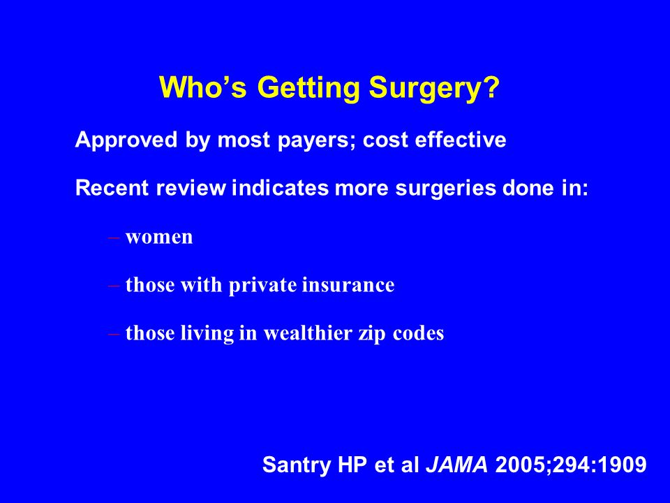 Whos Getting Surgery? Approved by most payers; cost effective Recent review indicates more surgeries done in: –women –those with private insurance –th