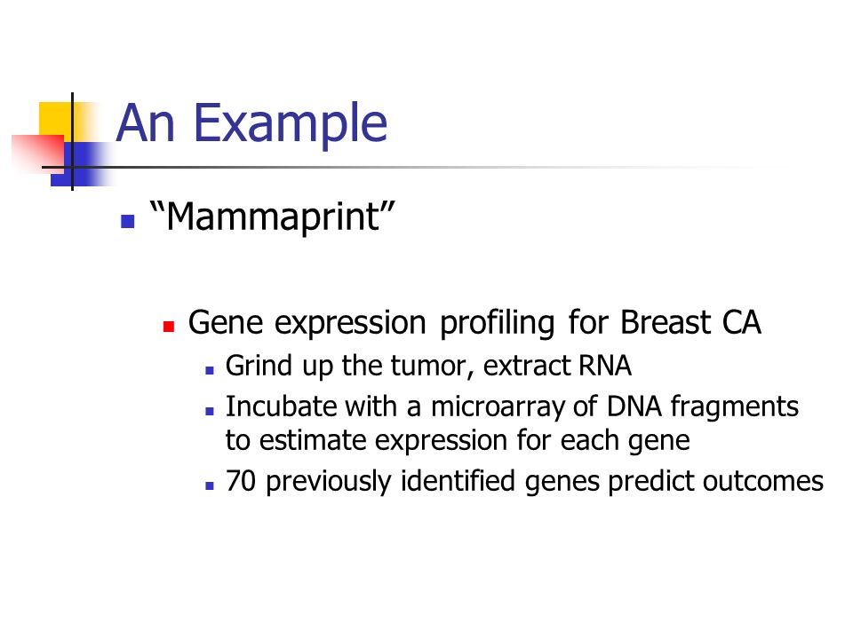 An Example Mammaprint Gene expression profiling for Breast CA Grind up the tumor, extract RNA Incubate with a microarray of DNA fragments to estimate expression for each gene 70 previously identified genes predict outcomes