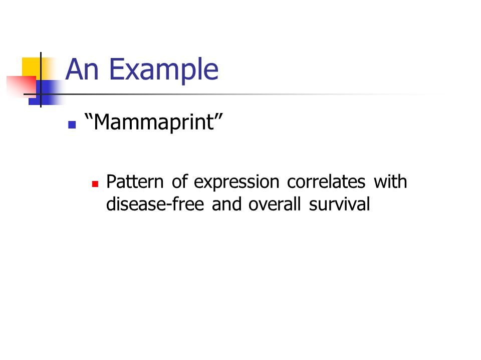 An Example Mammaprint Pattern of expression correlates with disease-free and overall survival