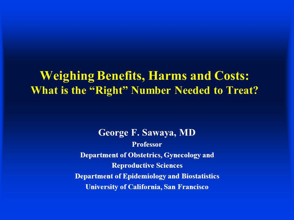 Summary Technological advances in medicine make tests more sensitive, often less specific and certainly more costly Large-scale trials (comparative effectiveness) may prove small benefits of statistical significance, but of unclear clinical value You must be aware of harms incurred in pursuit of marginal benefits Many forces are at play DAs and CEAs can be useful tools to judge the balance of benefits and harms for population-based recommendations, but neither is perfect Judgment = controversy (stay tuned for breast cancer screening)