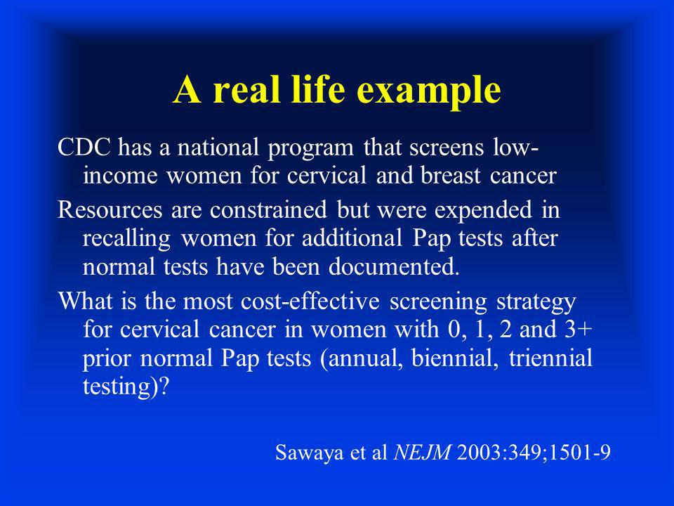 A real life example CDC has a national program that screens low- income women for cervical and breast cancer Resources are constrained but were expended in recalling women for additional Pap tests after normal tests have been documented.