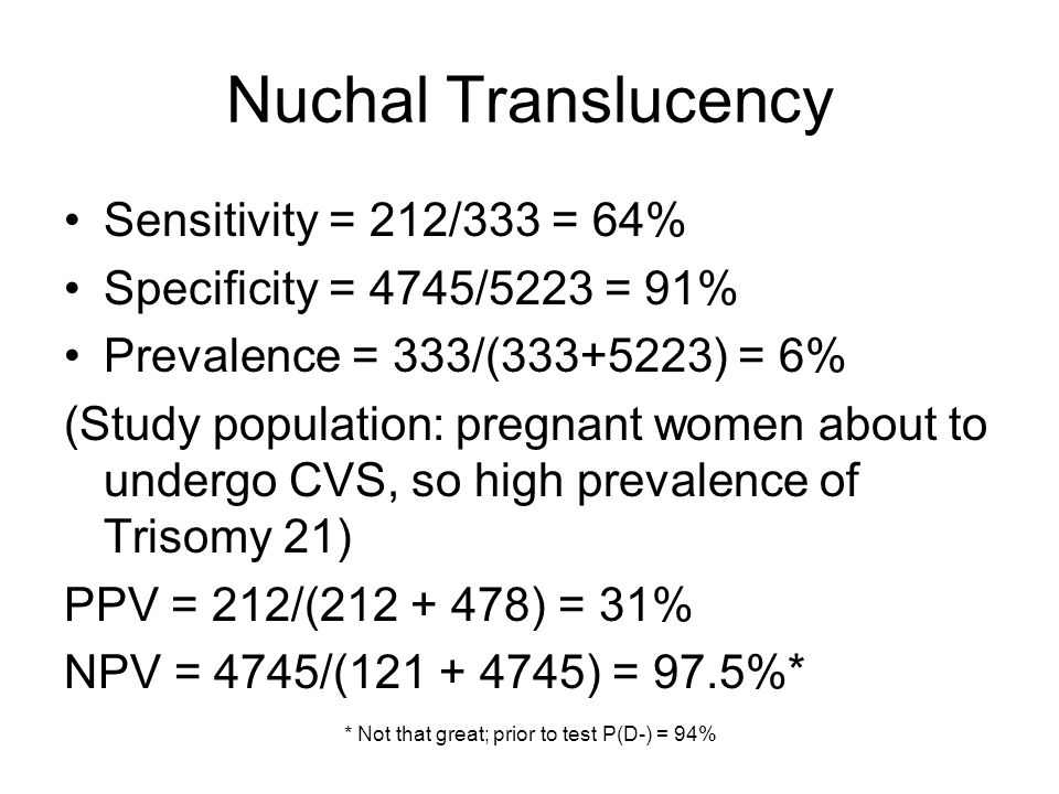Nuchal Translucency Sensitivity = 212/333 = 64% Specificity = 4745/5223 = 91% Prevalence = 333/( ) = 6% (Study population: pregnant women about to undergo CVS, so high prevalence of Trisomy 21) PPV = 212/( ) = 31% NPV = 4745/( ) = 97.5%* * Not that great; prior to test P(D-) = 94%