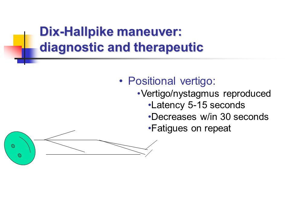 Dix-Hallpike maneuver: diagnostic and therapeutic Positional vertigo: Vertigo/nystagmus reproduced Latency 5-15 seconds Decreases w/in 30 seconds Fati
