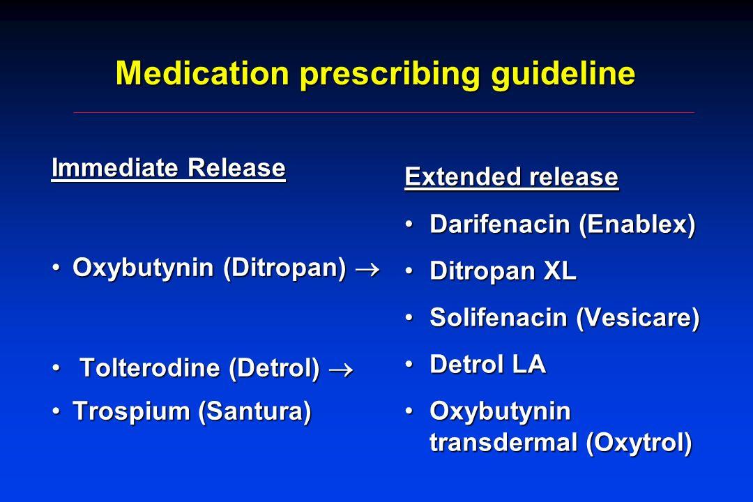 Medication prescribing guideline Immediate Release Oxybutynin (Ditropan)Oxybutynin (Ditropan) Tolterodine (Detrol) Tolterodine (Detrol) Trospium (Sant
