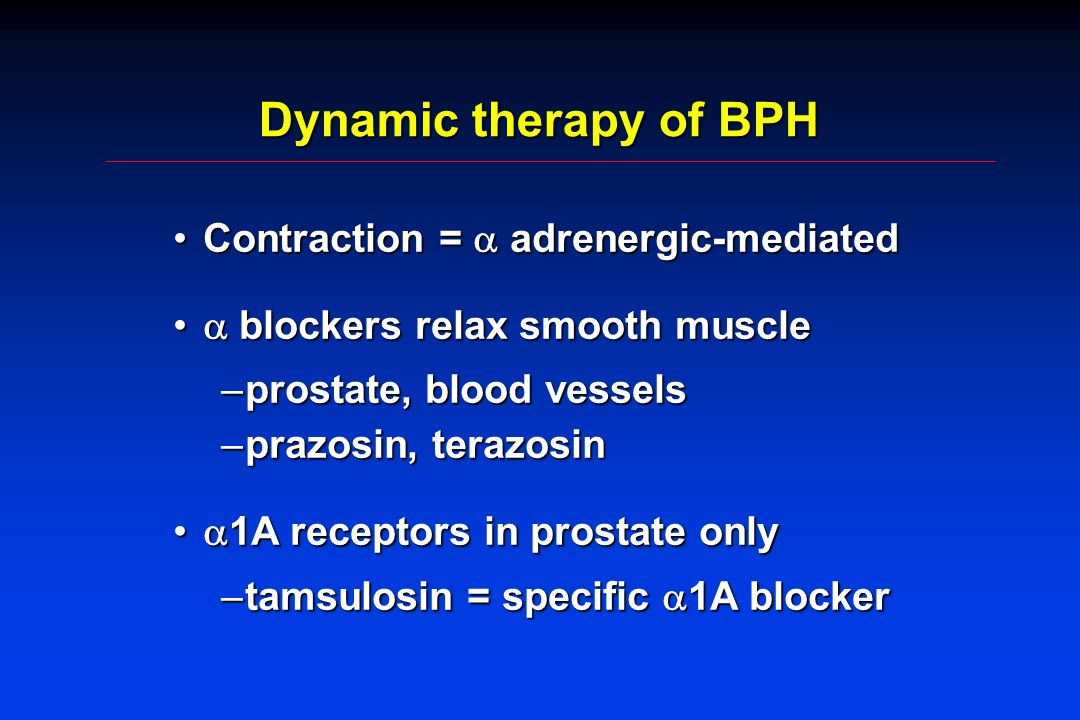Dynamic therapy of BPH Contraction = adrenergic-mediatedContraction = adrenergic-mediated blockers relax smooth muscle blockers relax smooth muscle –p