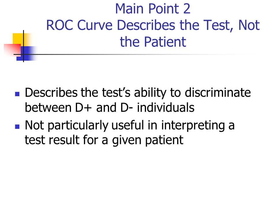 Main Point 2 ROC Curve Describes the Test, Not the Patient Describes the tests ability to discriminate between D+ and D- individuals Not particularly useful in interpreting a test result for a given patient