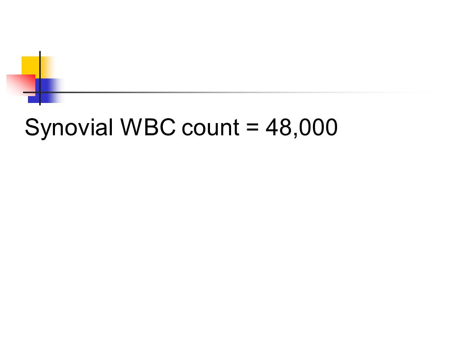 Synovial WBC count = 48,000