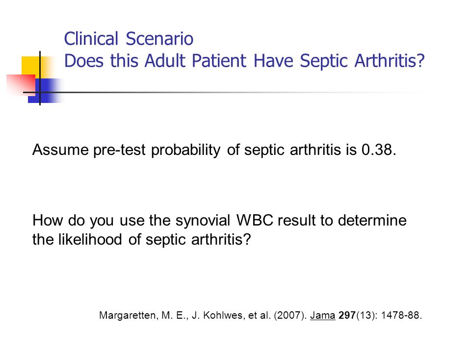 Clinical Scenario Does this Adult Patient Have Septic Arthritis.