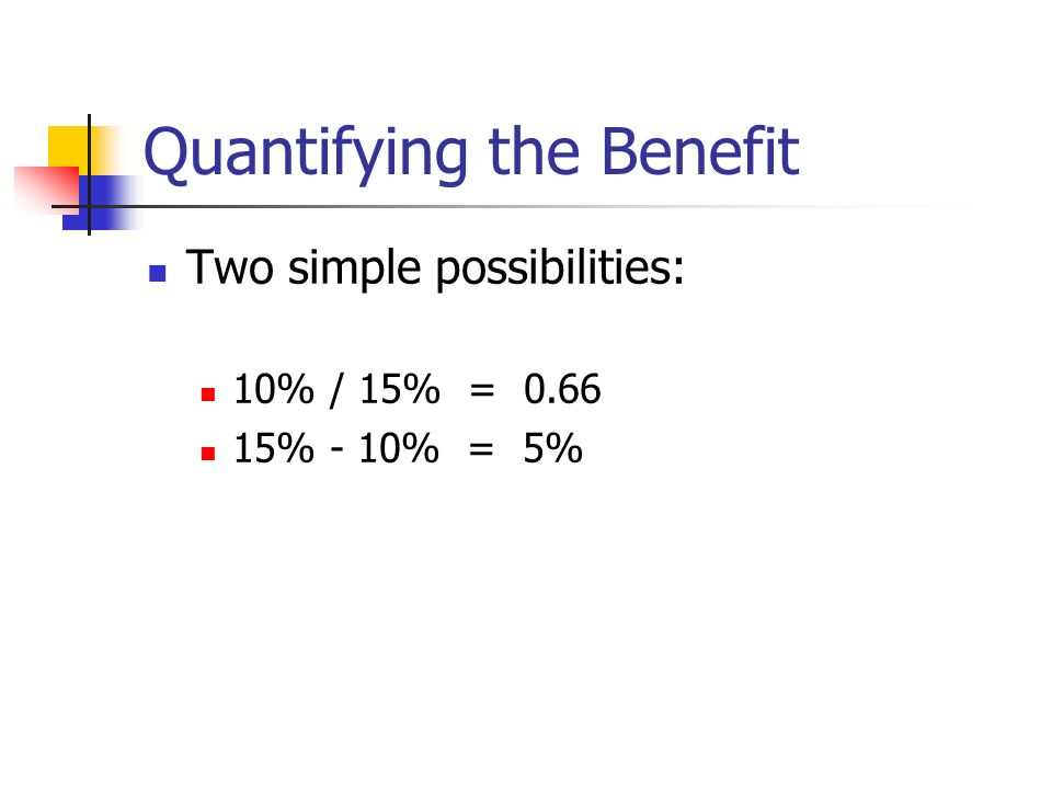 Quantifying the Benefit Two simple possibilities: 10% / 15% = % - 10% = 5%