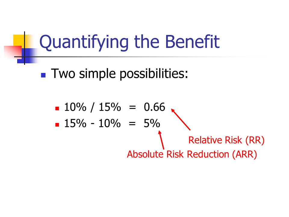 Quantifying the Benefit Two simple possibilities: 10% / 15% = % - 10% = 5% Relative Risk (RR) Absolute Risk Reduction (ARR)