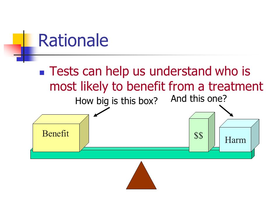 Quantifying the Benefit Two simple possibilities: 10% / 15% = 0.66 15% - 10% = 5% Relative Risk (RR) Absolute Risk Reduction (ARR)