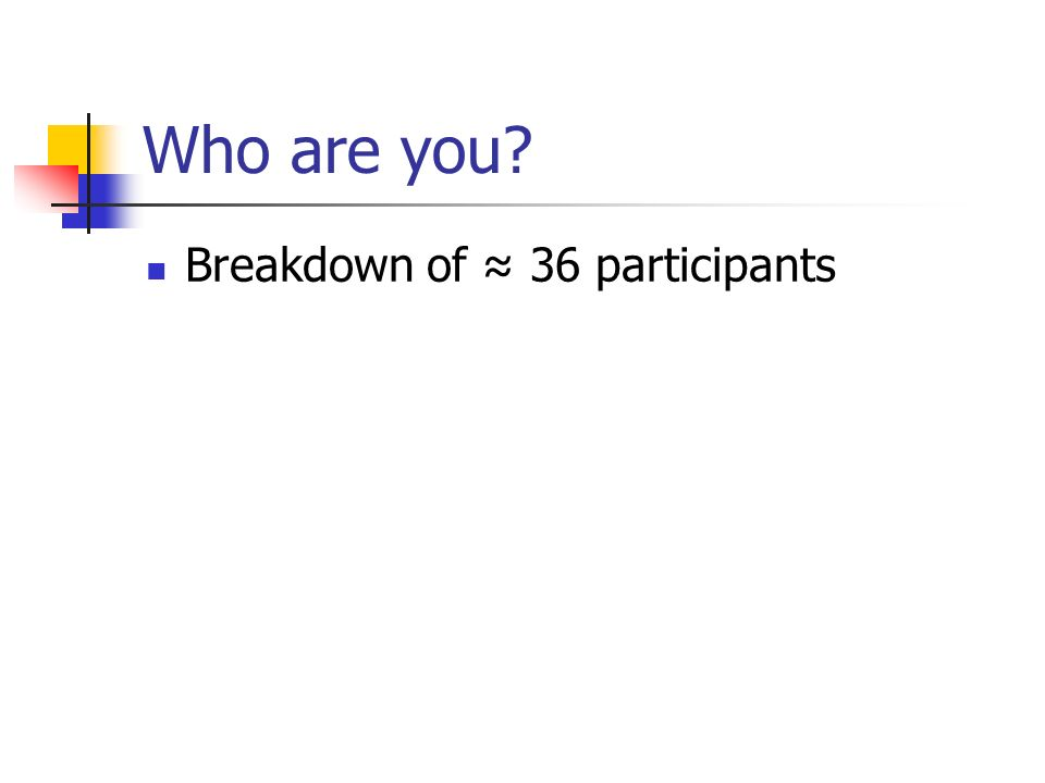 Who are you? Breakdown of 36 participants