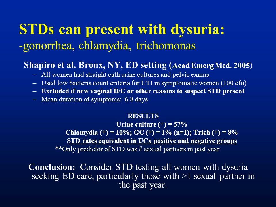 STDs can present with dysuria: -gonorrhea, chlamydia, trichomonas Shapiro et al. Bronx, NY, ED setting ( Acad Emerg Med. 2005) –All women had straight
