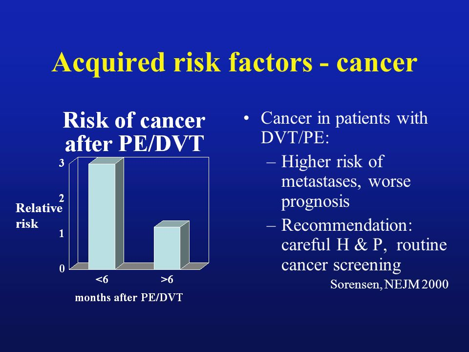 Acquired risk factors - cancer Cancer in patients with DVT/PE: –Higher risk of metastases, worse prognosis –Recommendation: careful H & P, routine can