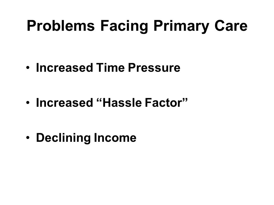 Problems Facing Primary Care Increased Time Pressure Increased Hassle Factor Declining Income