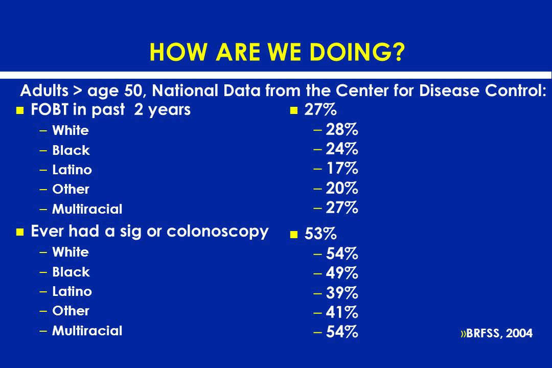 HOW ARE WE DOING? FOBT in past 2 years – White – Black – Latino – Other – Multiracial Ever had a sig or colonoscopy – White – Black – Latino – Other –