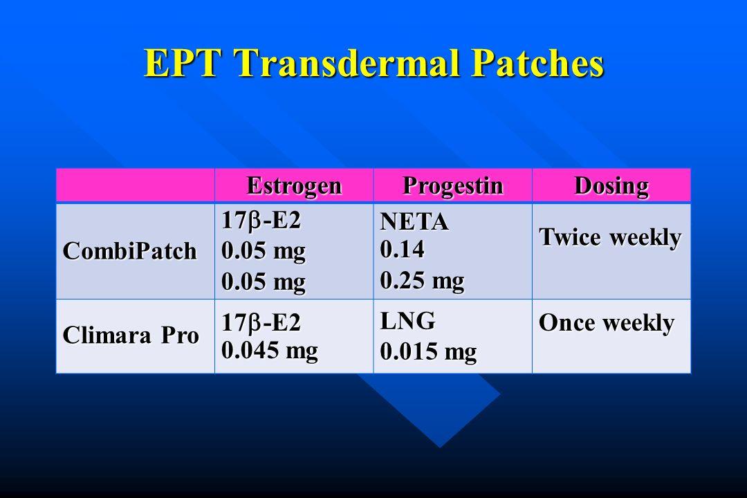 EPT Transdermal Patches EstrogenProgestinDosing CombiPatch 17 -E2 0.05 mg NETA 0.14 0.25 mg Twice weekly Climara Pro 17 -E2 0.045 mg LNG 0.015 mg Once