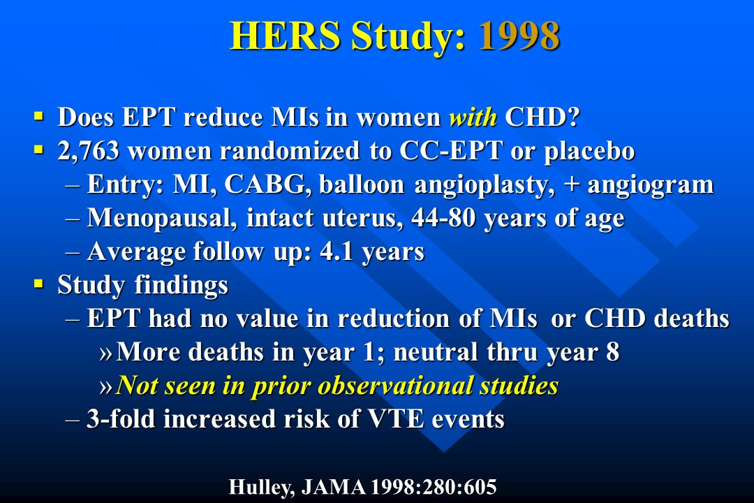 HERS Study: 1998 Does EPT reduce MIs in women with CHD? Does EPT reduce MIs in women with CHD? 2,763 women randomized to CC-EPT or placebo 2,763 women