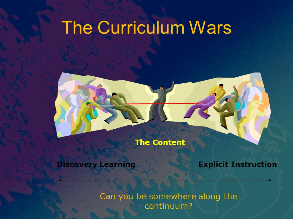 The Curriculum Wars The Content Explicit InstructionDiscovery Learning Can you be somewhere along the continuum?