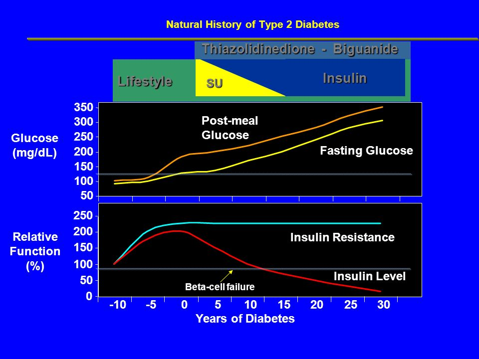 Natural History of Type 2 Diabetes 0 50 100 150 200 250 50 100 150 200 250 300 350 -10-5051015202530 Years of Diabetes Glucose (mg/dL) Relative Functi