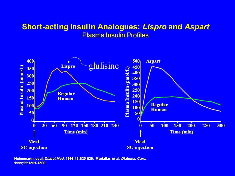 Short-acting Insulin Analogues: Lispro and Aspart Plasma Insulin Profiles 400 350 300 250 200 150 100 Meal SC injection 50 0 03060 Time (min) 90120180