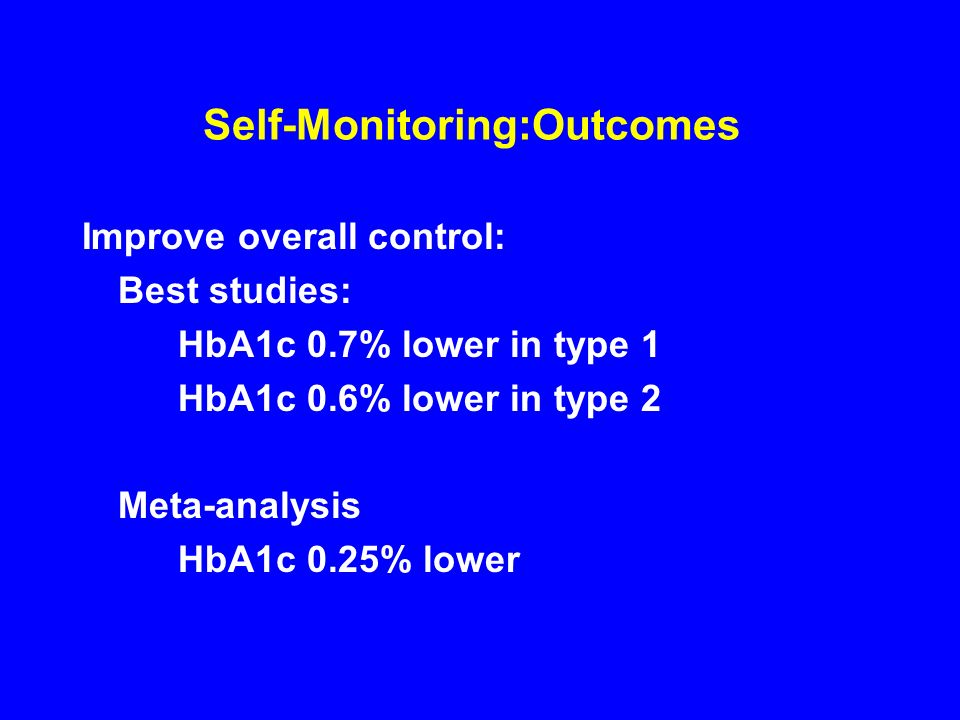 Self-Monitoring:Outcomes Improve overall control: Best studies: HbA1c 0.7% lower in type 1 HbA1c 0.6% lower in type 2 Meta-analysis HbA1c 0.25% lower