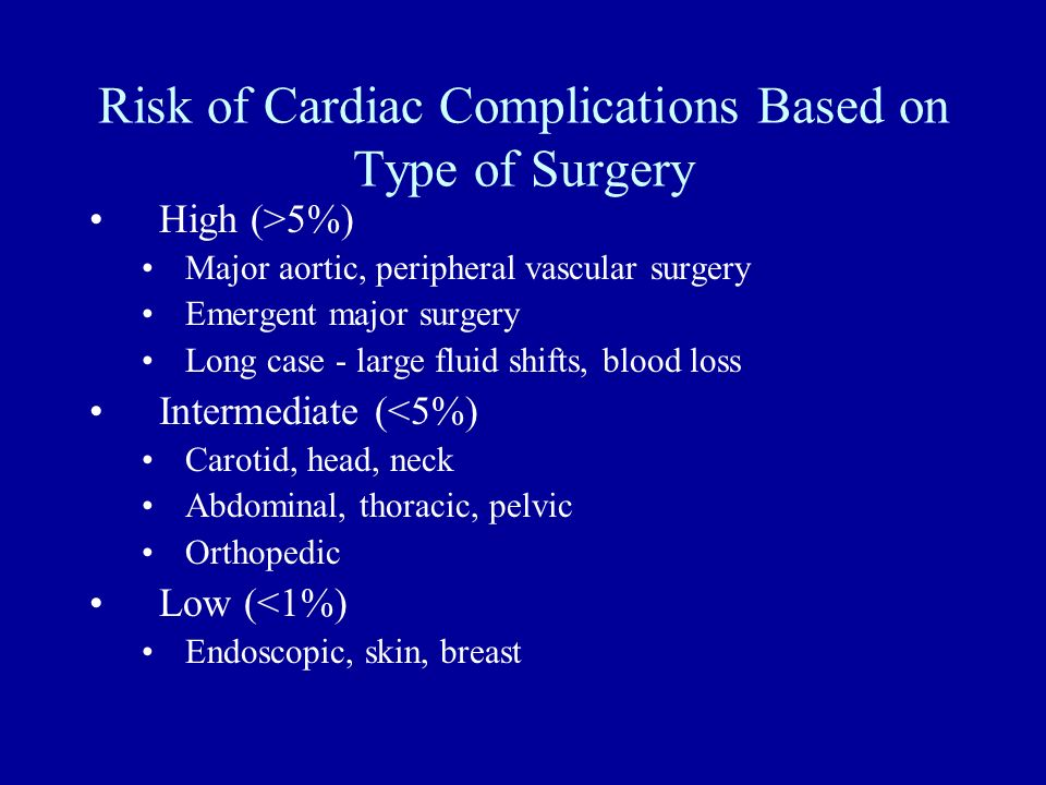 Risk of Cardiac Complications Based on Type of Surgery High (>5%) Major aortic, peripheral vascular surgery Emergent major surgery Long case - large f