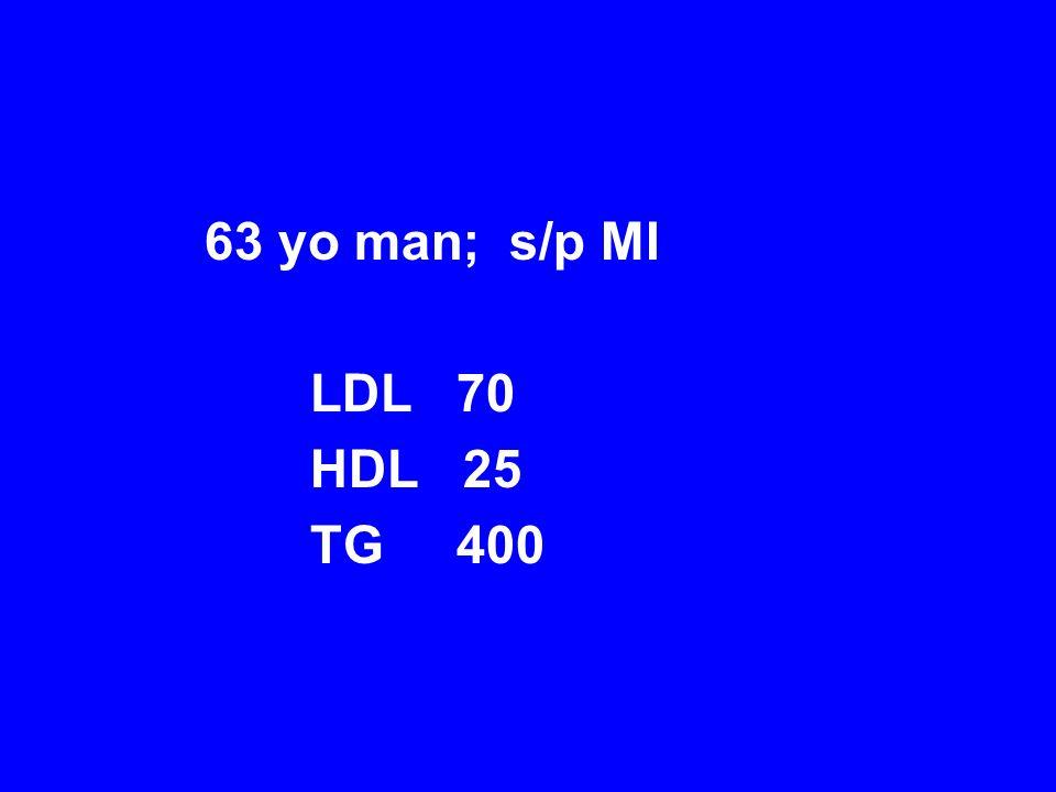 63 yo man; s/p MI LDL 70 HDL 25 TG 400