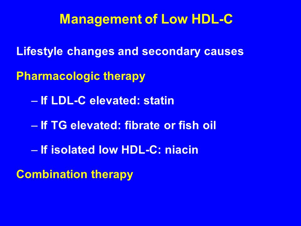 Lifestyle changes and secondary causes Pharmacologic therapy –If LDL-C elevated: statin –If TG elevated: fibrate or fish oil –If isolated low HDL-C: niacin Combination therapy Management of Low HDL-C