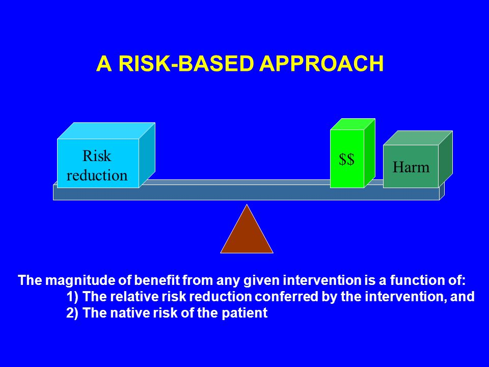 Risk reduction $$ Harm The magnitude of benefit from any given intervention is a function of: 1) The relative risk reduction conferred by the intervention, and 2) The native risk of the patient A RISK-BASED APPROACH