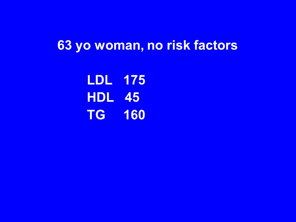 63 yo woman, no risk factors LDL 175 HDL 45 TG 160
