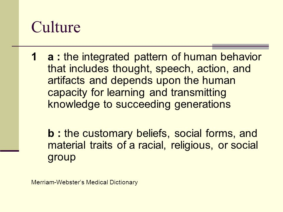 Culture 1 a : the integrated pattern of human behavior that includes thought, speech, action, and artifacts and depends upon the human capacity for le