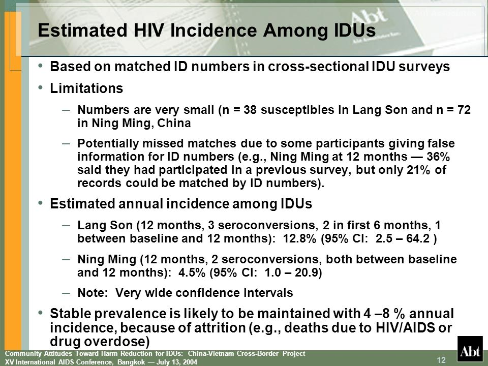 Community Attitudes Toward Harm Reduction for IDUs: China-Vietnam Cross-Border Project XV International AIDS Conference, Bangkok July 13, 2004 12 Base
