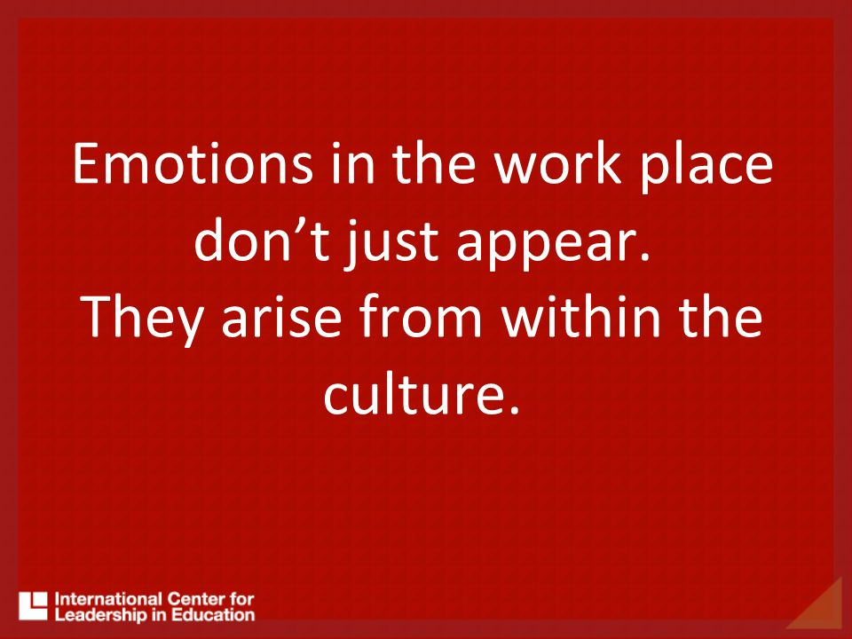 Emotions in the work place dont just appear. They arise from within the culture.