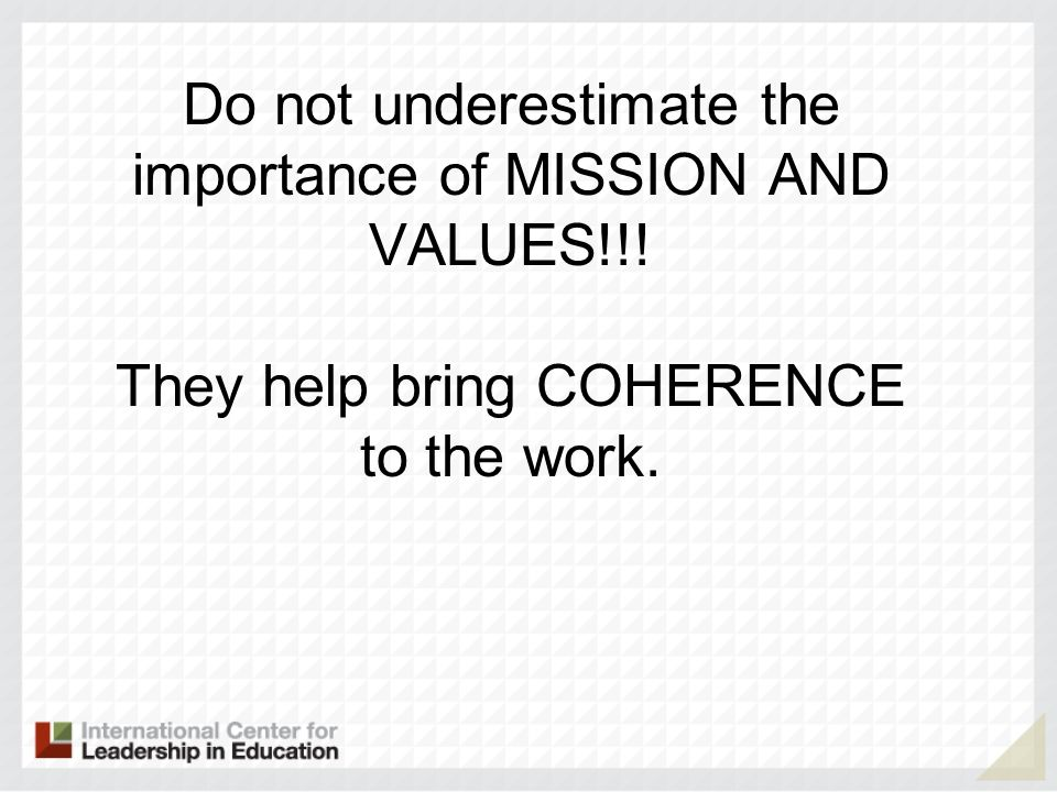 Do not underestimate the importance of MISSION AND VALUES!!! They help bring COHERENCE to the work.