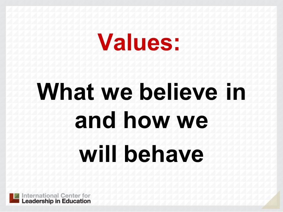 What we believe in and how we will behave Values: