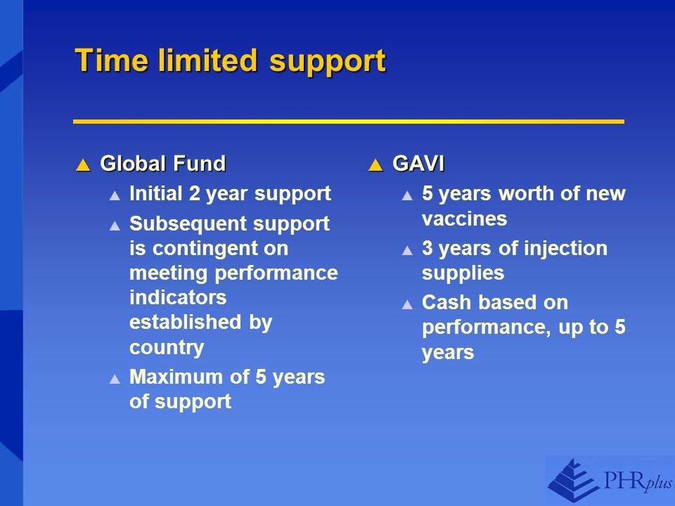 Time limited support Global Fund Global Fund Initial 2 year support Subsequent support is contingent on meeting performance indicators established by country Maximum of 5 years of support GAVI GAVI 5 years worth of new vaccines 3 years of injection supplies Cash based on performance, up to 5 years
